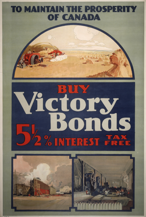 To Maintain Prosperity in Canada - Buy Victory Bonds Poster, Buy Victory bonds 5 and a half interest, tax free with images of farms and towns