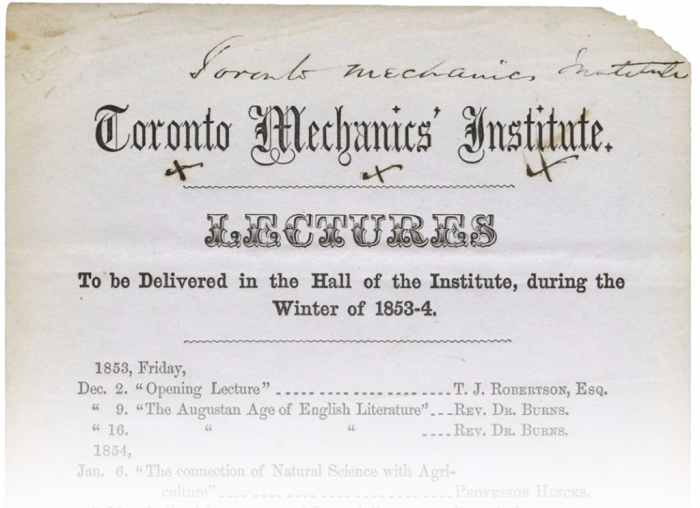 Old paper titled Toronto Mechanics' Institute and reads Lectures to be delivered in the hall of the Institute during the Winter of 1853-4 and then lists programs