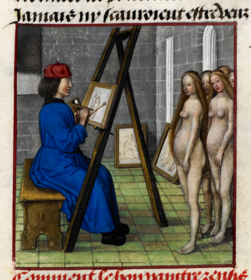 A detail from a medieval manuscript of the Romance of the Rose, showing an illustration of the Greek artist Zeuxis painting five nude models.